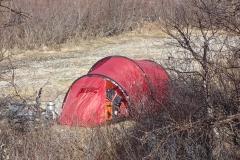 morgens hilft die Sonne wieder beim Trocknen des Zeltes