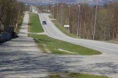 Lakselv und der Porsangerfjorden sind bereits zu sehen